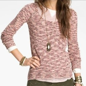WE THE FREE PINK KNIT BOSTON MELANGE SCOOP SWEATER